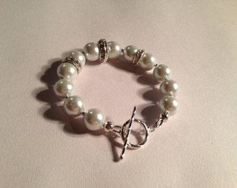 White Pearl Bracelet - Wedding Jewelry - Bride Jewellery - Bridesmaid - Crystal - June Birthstone