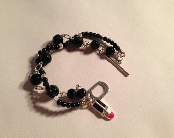 Black Bracelet Double Strand Jewelry Lipstick Charm Jewellery Silver Red Handmade Unique Gift Fashion