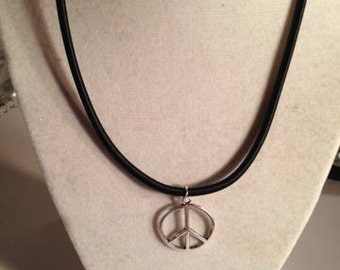 Peace Sign Necklace - Black Leather Jewelry - Silver Pendant - Handmade Jewellery - Anti War - Symbol