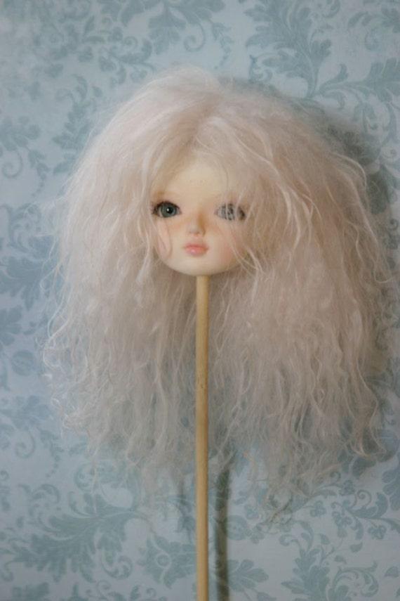 YoSD BJD Mohair Wig - Blush - size 6 handmade by EnModa
