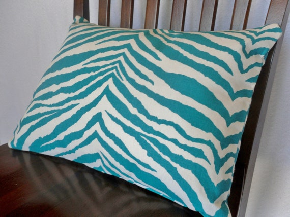 Teal and White Zebra Print Pillow Cover 12x16