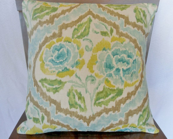 Ikat, Lattice, Floral Print, Blue, Yellow, Green Pillow Cover 18x18