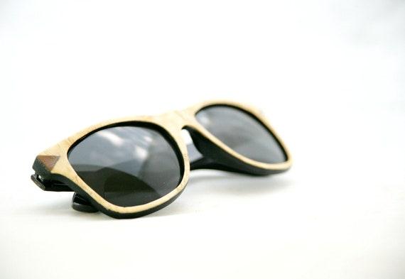 Handcrafted Wooden Veneered Sunglasses Polarized Wayfarer Style // Maple and Walnut Eyewear