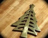 Vintage Brass Christmas Tree Trivet