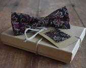 Cranberry Paisley Bow Tie