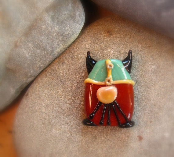 Ragnar the Brave  Focal Bead by Mad Cat Glass - FHFTeamY3 - GBUK - SRA - British Lampwork
