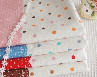 Cotton Linen Fabric Cloth -DIY Cloth Art Manual Cloth -Lace Polka Dots Linen Fabric 43x19 Inches