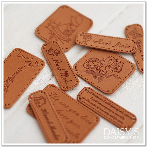 9Pcs Faux Leather Flower Purse Butterfly Bag Sew Label Tag
