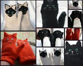 MITTENS Custom made for you from recycled wool sweaters created in the likeness of your pet