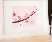 8x10 Two Birds on a Cherry Blossom Branch - Pink, Sage green, and Brown - girls room decor - baby girl