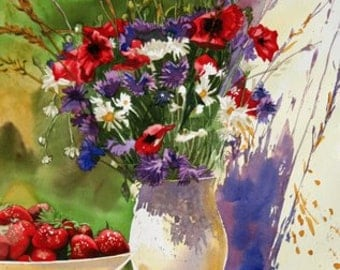 Popies and Strwaberries-----Watercolor By Ray Lockhart