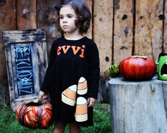 Halloween Dress - Personalized Toddler Dress - Candy Corn Applique - You Choose Dress Color and Sleeve Length