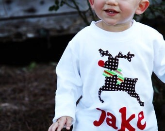 Toddler Christmas Shirt - Reindeer Applique Shirt or One-Piece- You Choose Sleeve Length and Shirt Color