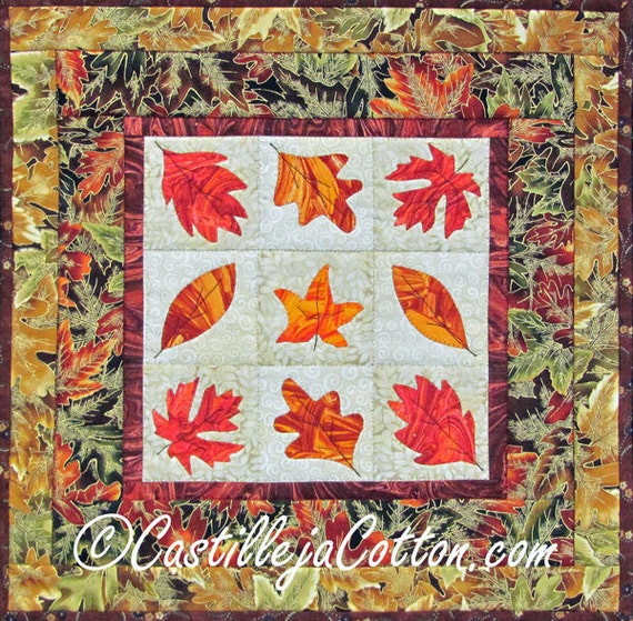 Autumn Leaves Quilted Wall Hanging, leaves wall quilt, leaves fabric art, orange wall quilt, 2375-2