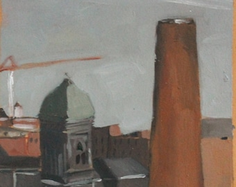 Original Oil Painting - Baltimore Cityscape Rooftops and Shot Tower