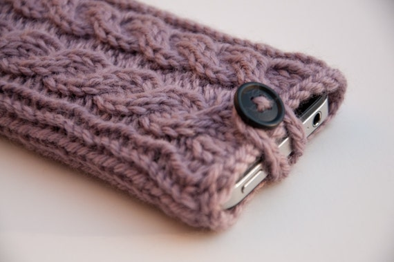 Smoky Lilac Double Cable Knit iPhone Case (3/4/4S Gen models)