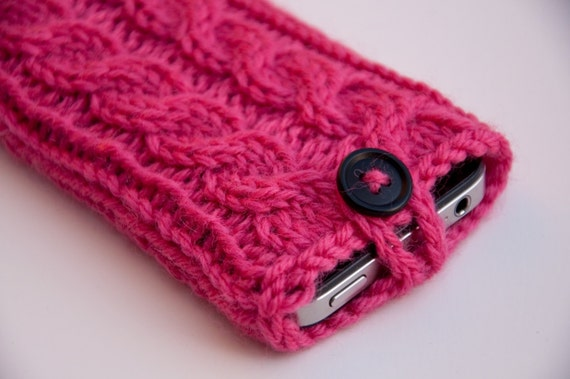 Popsicle Pink Double Cable Knit iPhone Case (3/4/4S Gen models)