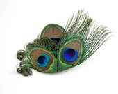 Jovial - Peacock hair clip / Feather Fascinator / Bridesmaid Hair Accessory