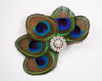 Naive - Peacock bridal hair accessory / Bridesmaid fascinator / Peacock feather hair clip