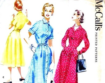 1950S Bust 32 UNCUT Misses Dress with Button Front Detail Shirtwaist c 1956 3588 McCalls 50s