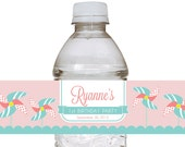 Custom Printable Pinwheel Party Water Bottle Label Wraps - Featured on Hostess with the Mostess