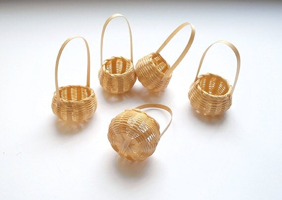 Tiny Wicker Basket With Handle : Tiny round woven baskets with handle for diy miniature