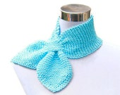 FREE SHIPPING - Turquoise bamboo scarf knit retro rockabilly bow neck tie hand knitted neckwarmer in aqua turquoise bamboo yarn