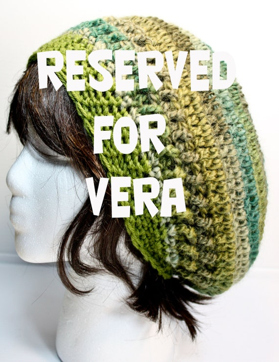 RESERVED FOR VERA - Slouchy Crochet Hat - Women Teenager - Wool and Acrylic Yarn - Green Teal Olive - One Size Fits All Medium Large