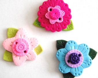 Cute Flowers Biggy Buttons handmade polymer clay buttons ( 1 )