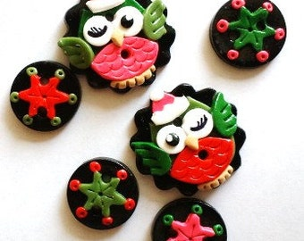 Button Christmas Owls handmade polymer clay buttons ( 6 )