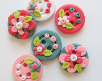 Button Tranquil Flowers handmade polymer clay buttons ( 6 )