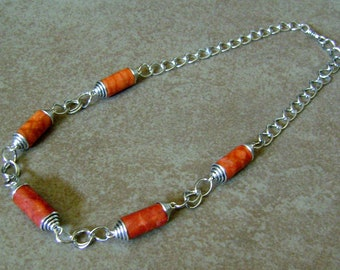 Coral Sea Shell Cylinder Beaded Tibetan Silver Chain Necklace