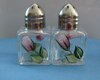 Hand Painted Mini Salt and Pepper Shakers Pink Roses Rose Buds