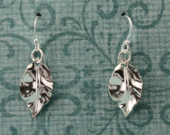 Sterling Silver  Earrings With Delicate Leaves Half Inch Long