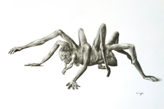 Stephen original charcoal drawing, dark fantasy art, horror art, halloween, pencil drawing, black and white art, monster drawing