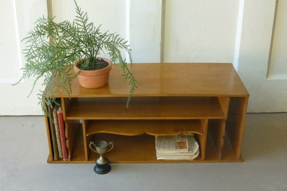 SALE Vintage Wood Cubby Shelf Desk Organizer