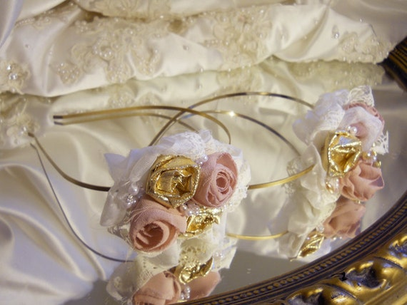 Reserved for Melissa, Set of 2 Flower Girl Headbands, handmade blush and gold roses, vintage lace and pearls.