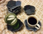 GIFT IDEA   Denim recycled: set of 4 coasters