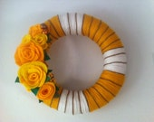 Yarn Wreath with Beautiful Mustard and Yellow Felt Roses-Door Decoration-10 IN WREATH-Ready to Ship