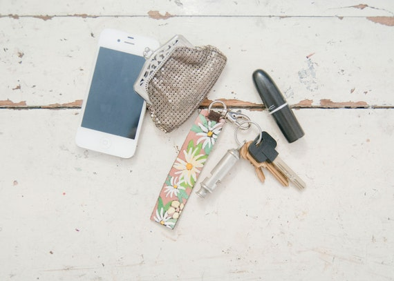 Leather Floral Keychain