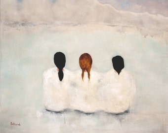"Giclee print. figure art. women in winter landscape. figurative art print. ""Tundra"""