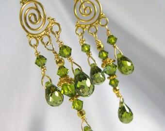 Chandelier Crystal Briolette Earrings in Olive Green 22k Gold Vermeil