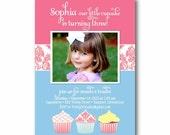 Girl Birthday Party Photo Invitation - Cupcake Trio Damask - PRINTABLE DIY Digital or Printed Design (optional)