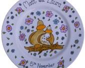 Custom Wedding Plate Display Plate Love Birds