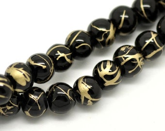 35 Mottled Glass Beads 6mm Midnight Black with Gold Highlights BD96