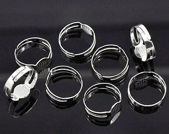 25 Ring Bases Silver Plated and Adjustable with Glue Pad for Fabulous Creations - FD144