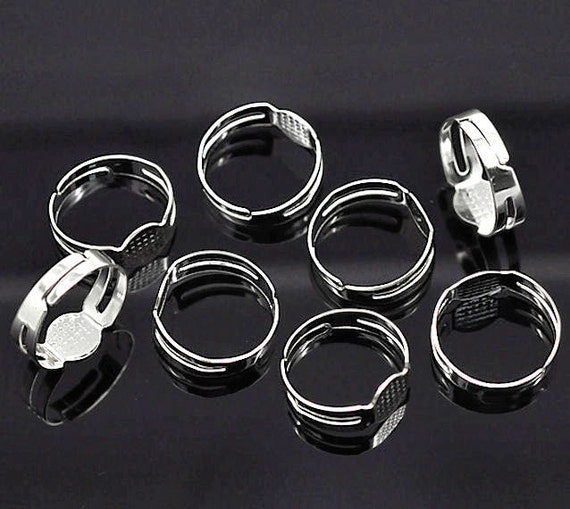 25 Ring Bases Silver Plated And Adjustable With Glue Pad