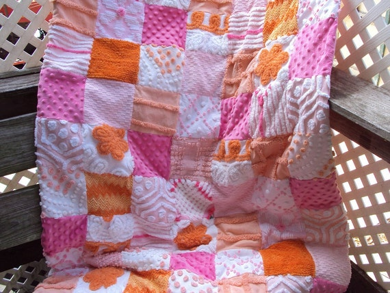Christmas sale, Sweet vintage chenille and minkee quilt, pinks, orange and peach, throw or baby