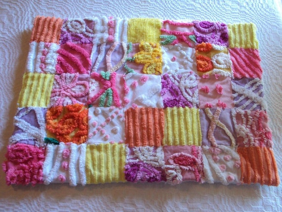 Cute vintage chenille doll quilt, lovey or pet bed, bright colors