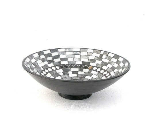 Black and white fruit bowl mosaic modern home decor classical contrast